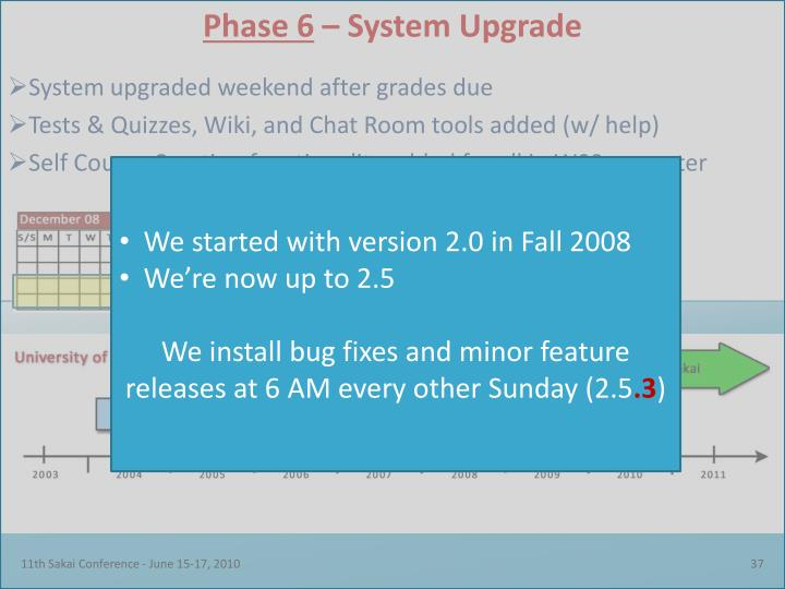 We started with version 2.0 in Fall 2008