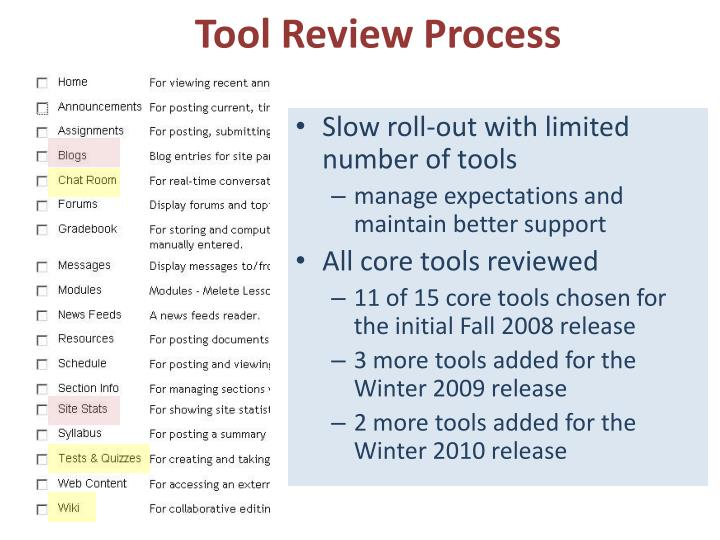 Tool Review Process