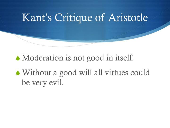 Kant's Critique of Aristotle