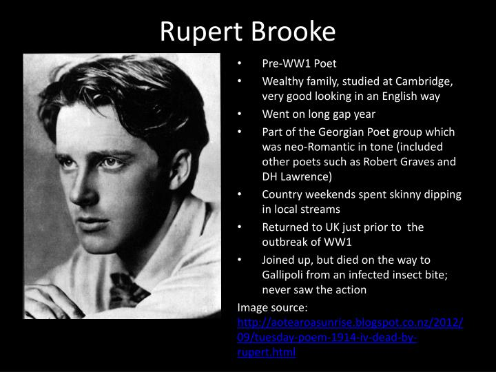 rupert brooke war poetry peace Though overshadowed by others, rupert brooke's gifts as a poet were palpable siegfried sassoon is known as a talented and prolific writer and poet.