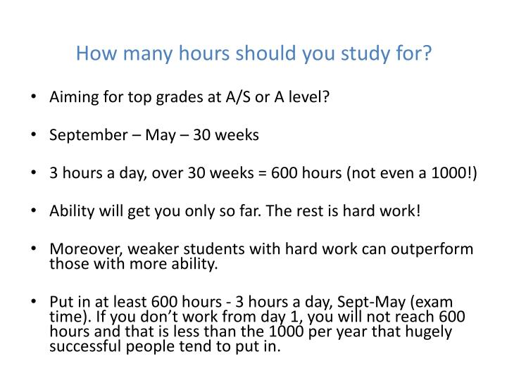 How many hours should you study for?
