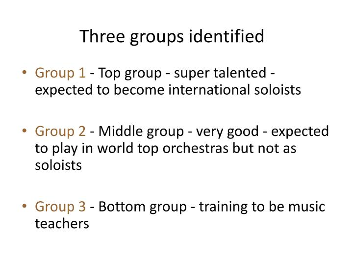 Three groups identified