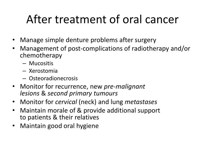 After treatment of oral cancer