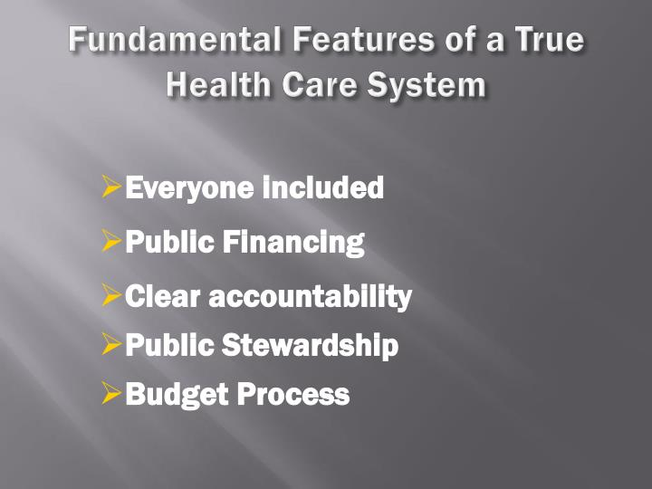 Fundamental Features of a True Health Care System