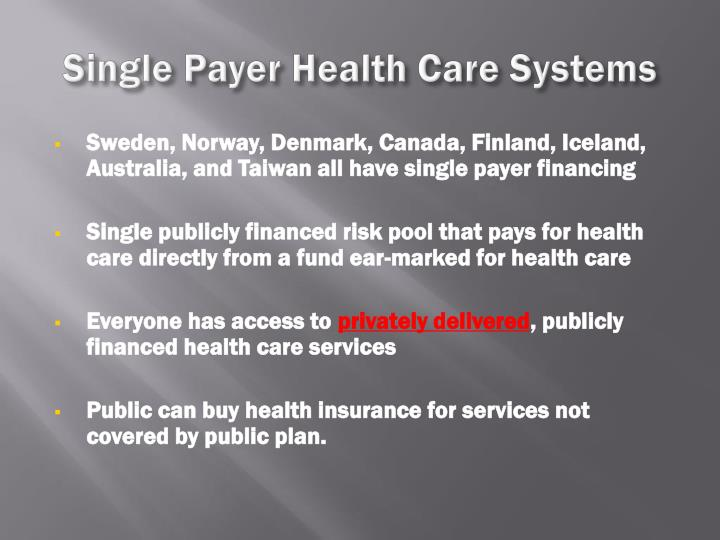 Single Payer Health Care Systems
