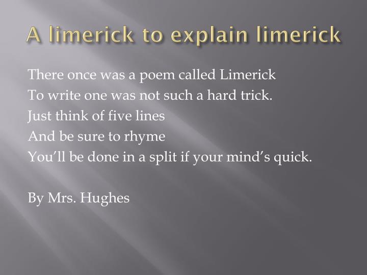 A limerick to explain limerick