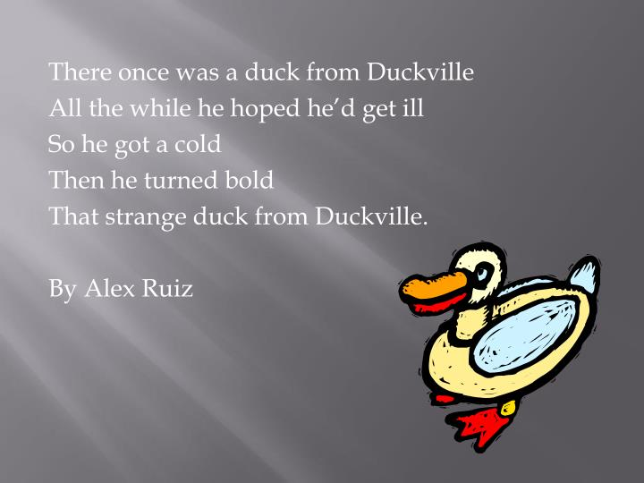 There once was a duck from