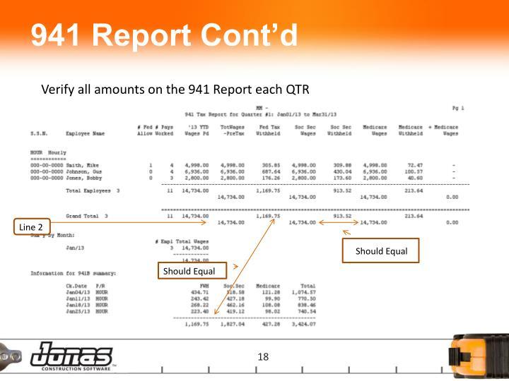 941 Report Cont'd