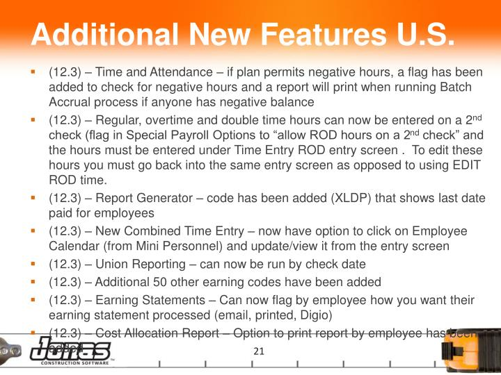Additional New Features U.S.