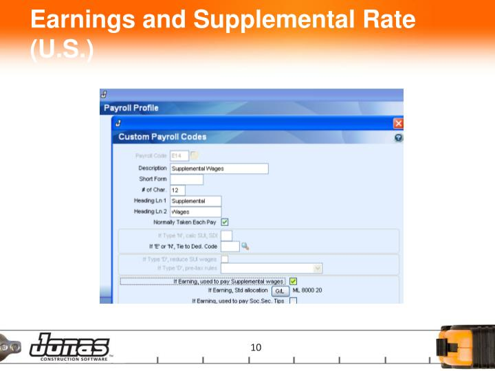 Earnings and Supplemental Rate (U.S.)