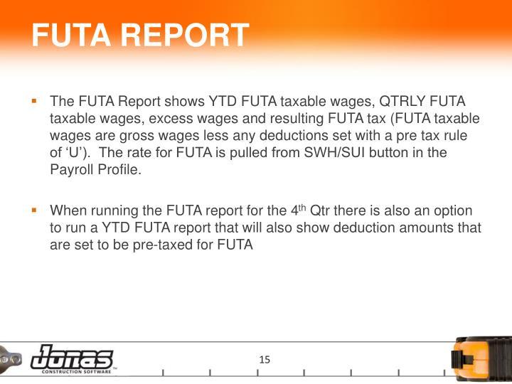 FUTA REPORT