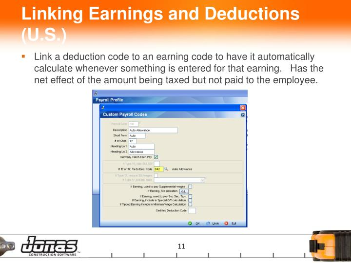 Linking Earnings and Deductions (U.S.)