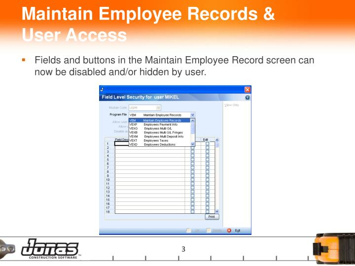 Maintain employee records user access