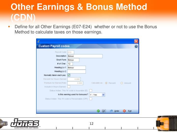 Other Earnings & Bonus Method (CDN)