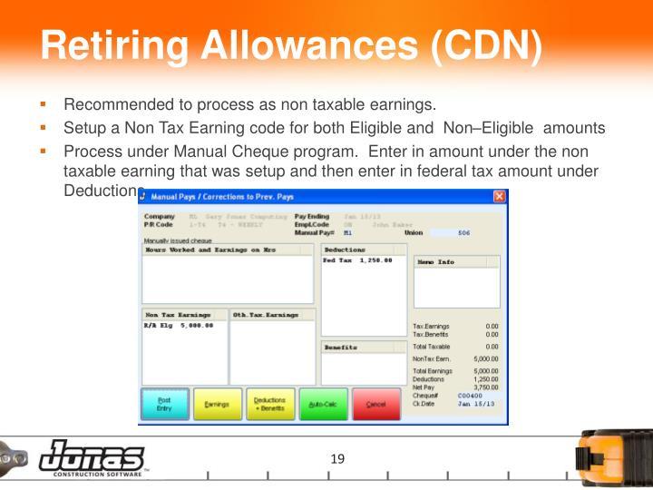 Retiring Allowances (CDN)
