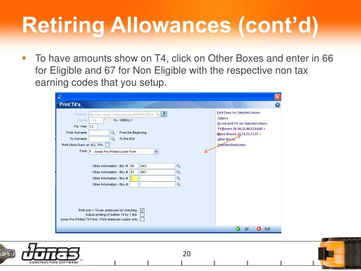Retiring Allowances (cont'd)