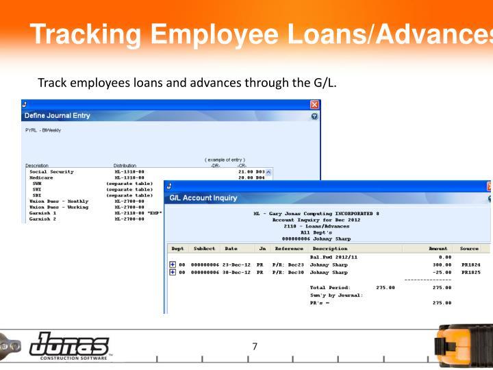 Tracking Employee Loans/Advances