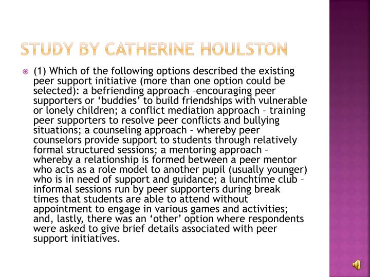 Study by Catherine Houlston