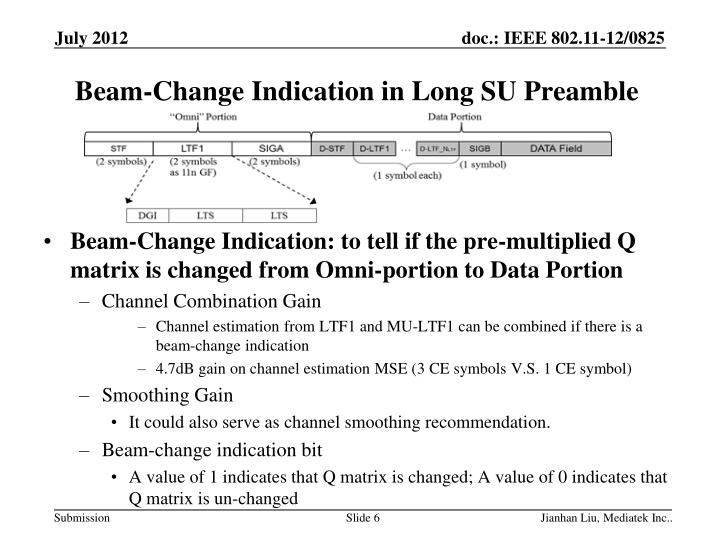 Beam-Change Indication in Long SU Preamble