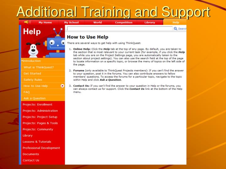 Additional Training and Support