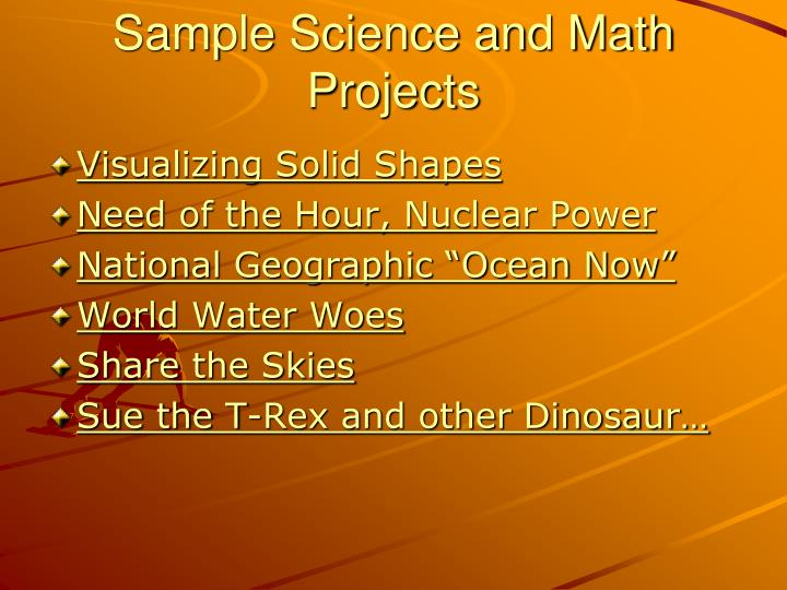 Sample Science and Math Projects