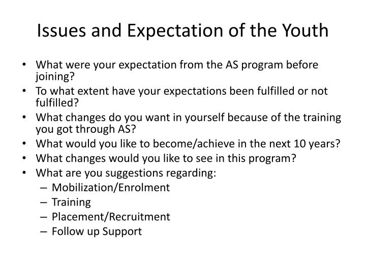 Issues and Expectation of the Youth