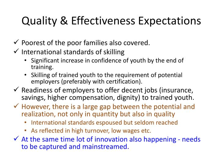 Quality & Effectiveness Expectations