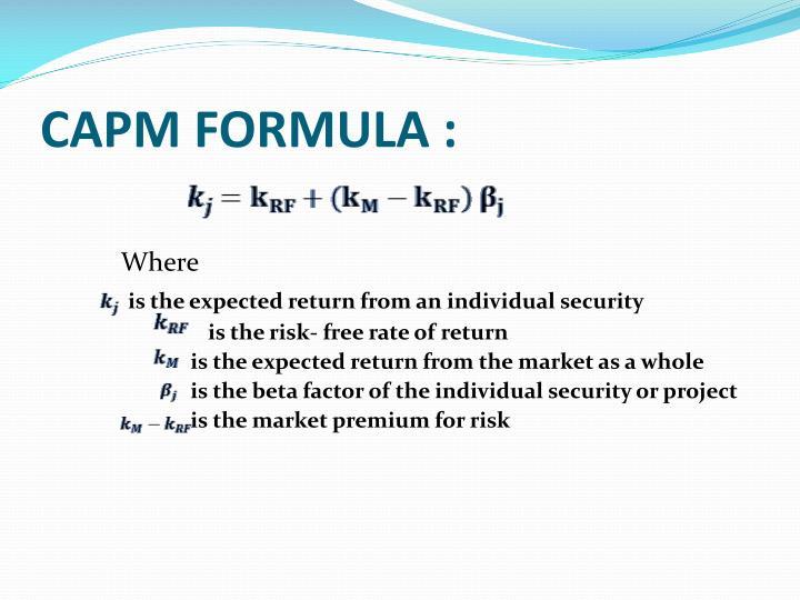 CAPM FORMULA :