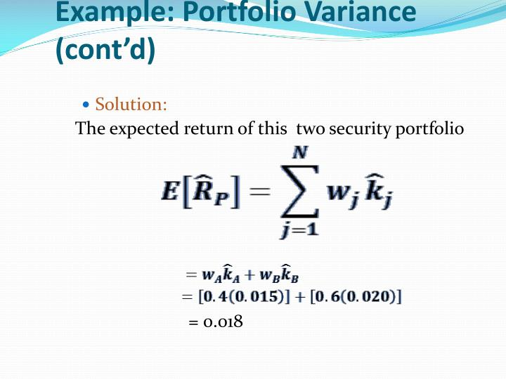 Example: Portfolio Variance (cont'd)