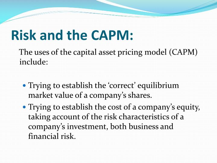 Risk and the CAPM: