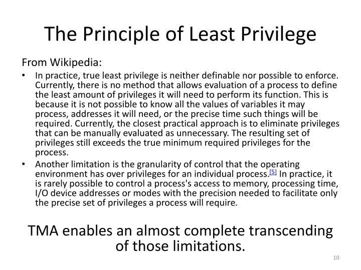 The Principle of Least Privilege