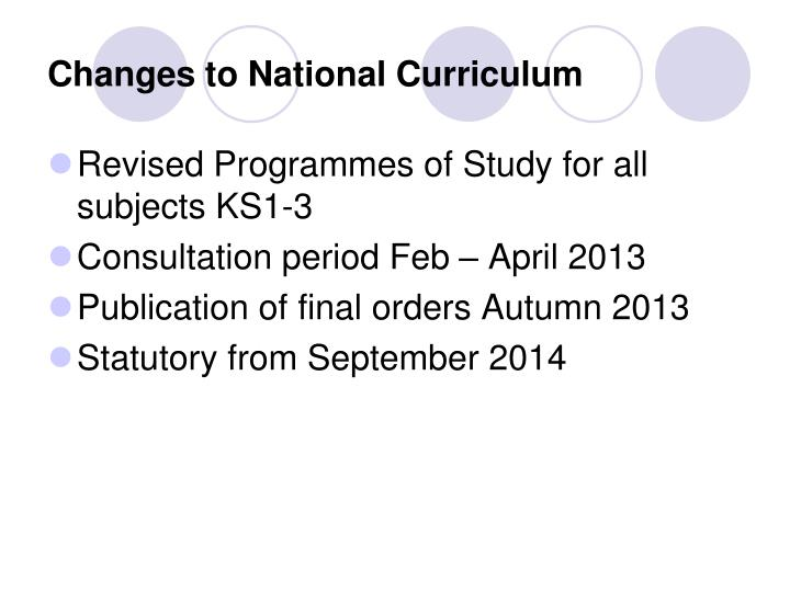 Changes to National Curriculum