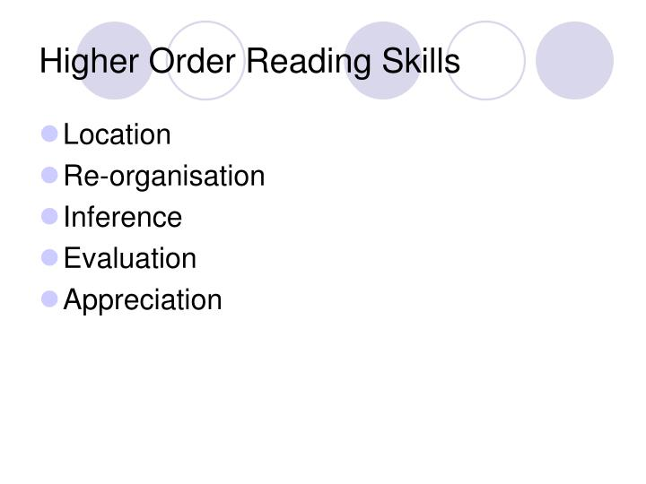 Higher order reading skills