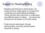support for reading writing