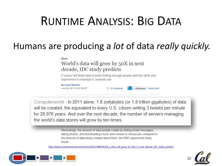 Runtime Analysis: Big Data