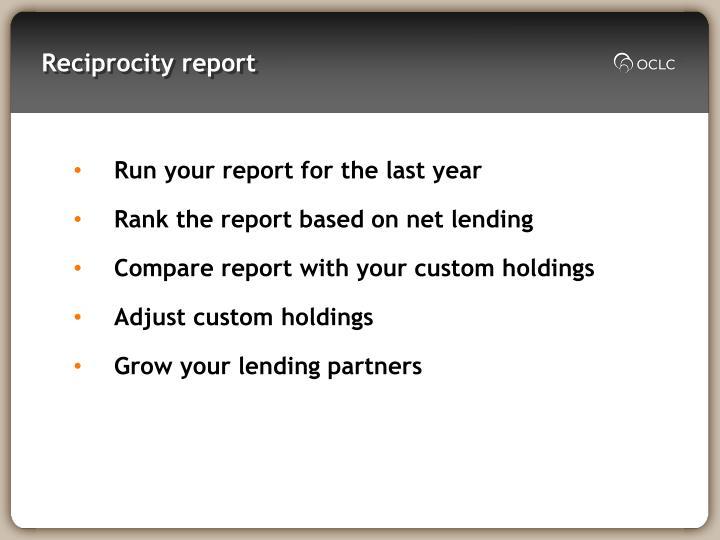 Reciprocity report