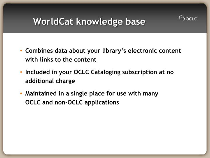 WorldCat knowledge base
