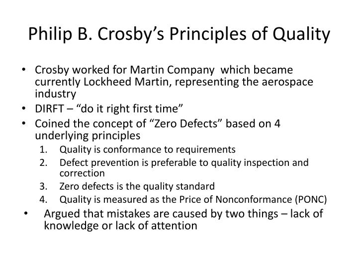 Philip B. Crosby's Principles of Quality