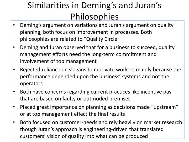 Similarities in Deming's and Juran's Philosophies