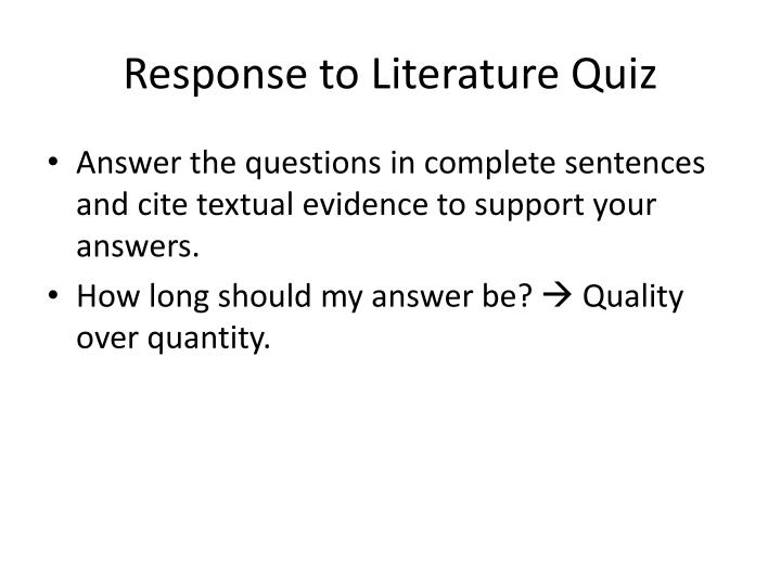Response to Literature Quiz