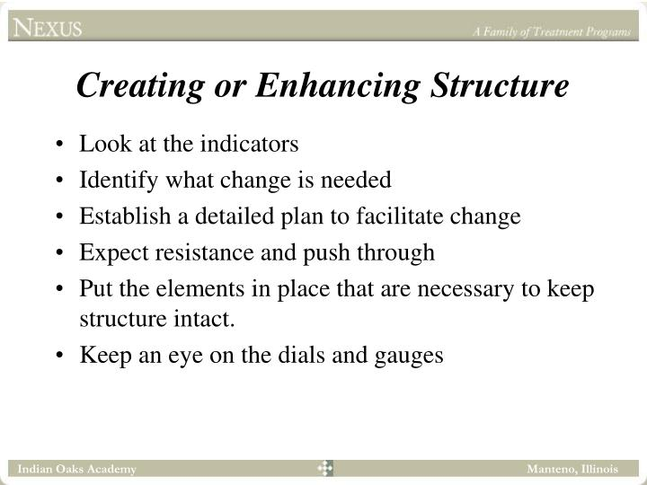 Creating or Enhancing Structure