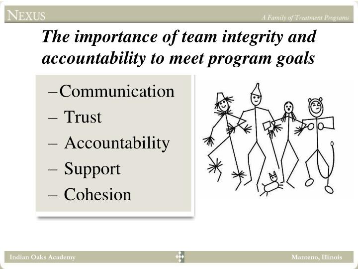 The importance of team integrity and accountability to meet program goals