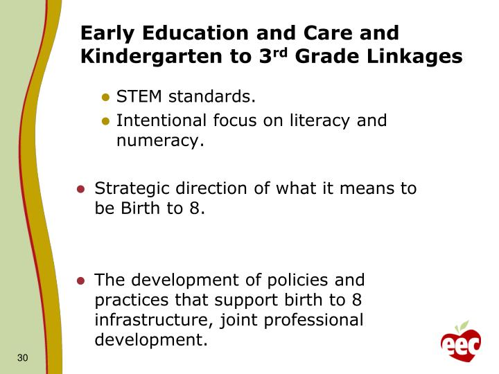 Early Education and Care and Kindergarten to 3