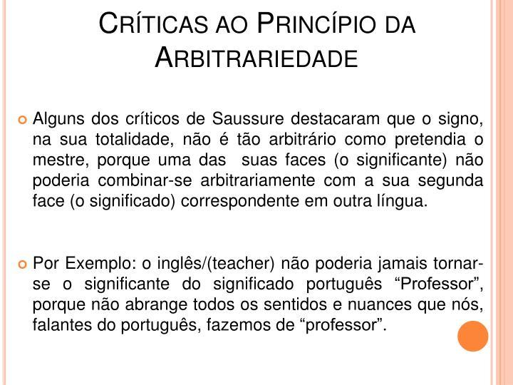 Crticas ao Princpio da Arbitrariedade