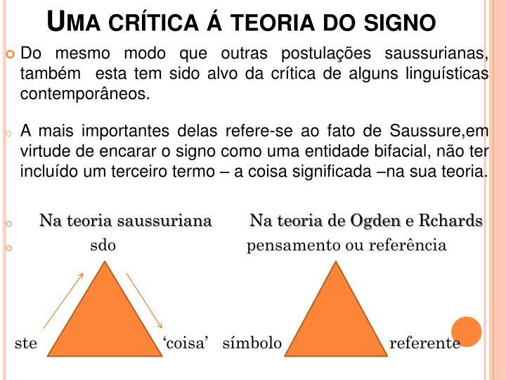 Uma crtica  teoria do signo