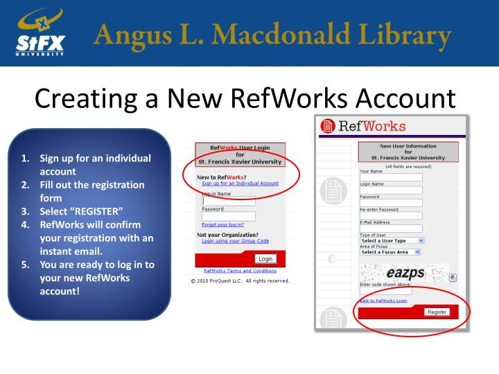 Creating a New RefWorks Account