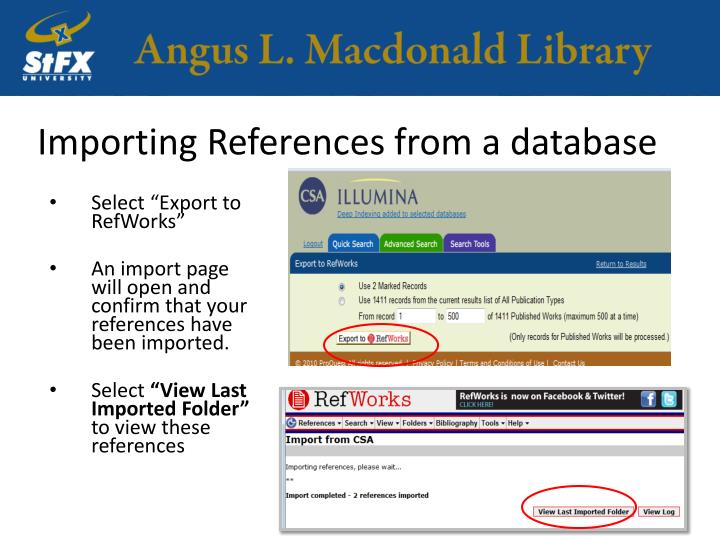 Importing References from a database