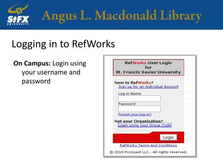 Logging in to RefWorks