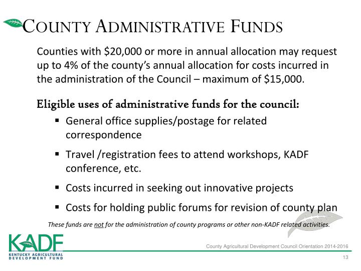 County Administrative Funds