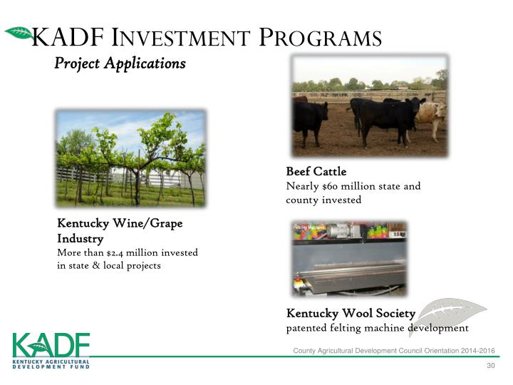 KADF Investment Programs